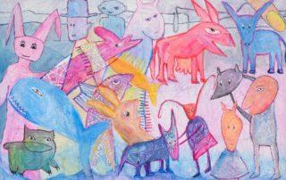 The Red Donkey · Acryl auf Leinen · 75 x 115 cm · 2020 · 1.200,00 Euro