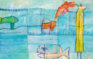 The Cricket and the Fish · Acryl auf Leinen · 75 x 115 cm · 2020 · 850,00 Euro